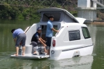 "Amphibious vehicle. ""BoatVan"" boat and caravan in one. Fishing boat made of fiberglass"