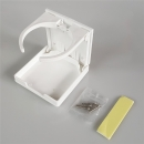 Glass holder foldable, white, of plastic